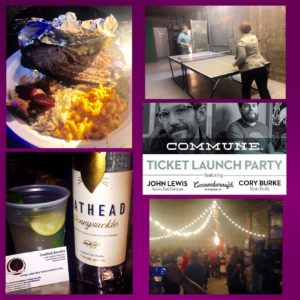 First time at a Commune dinner and I loved. Delicious food from @lewisbarbecue and @iheartrotirolls. Great cocktails from @catheadvodka and @stripedpigdistillery We met some amazing people while we served custom cocktails with @b_cannonbevco Honey Basil Soda & Cathead Honeysuckle Vodka. Yum!
