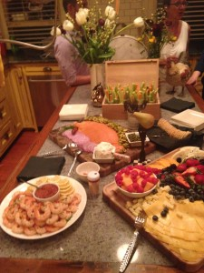 Smoked salmon, assorted cheeses, strawberries and veggie shooters.