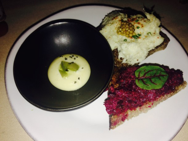 Beet Tartare, savory custard and fish dip served during the Altos Tequila Training at Restaurant 492.