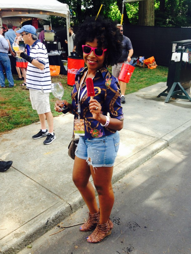 Taneka enjoying a Patron Blackberry Margarita flavored King of Pop. Great way to cool off!