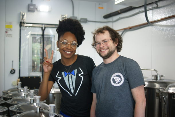 Taneka and the head Brewer at Upstate Craft Brew Co. He was awesome!
