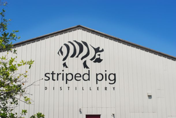 The front of Striped Pig Distillery.